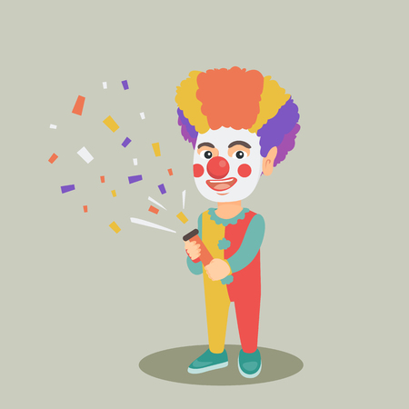 Cheerful little caucasian boy in colourful clown wig and costume shooting a party popper confetti. Happy clown boy in make-up blowing up a party popper. Vector cartoon illustration. Square layout.