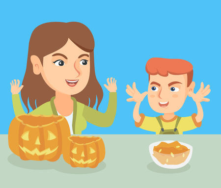 happy family: Young caucasian mother and her son carving pumpkins and preparing for Halloween. Cheerful mother and son cutting pumpkins for Halloween and making grimaces. Vector cartoon illustration. Square layout. Illustration