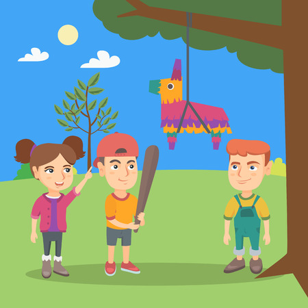 kids birthday party: Young caucasian boy celebrating a birthday party with his friends and breaking a pinata with a baseball bat. Little boy hitting a pinata at outdoor party. Vector cartoon illustration. Square layout.