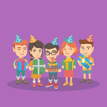 kids birthday party: Little happy caucasian boy holding a birthday cake and his friends holding giftboxes at birthday party. Cheerful boy celebrating his birthday with friends. Vector cartoon illustration. Square layout.