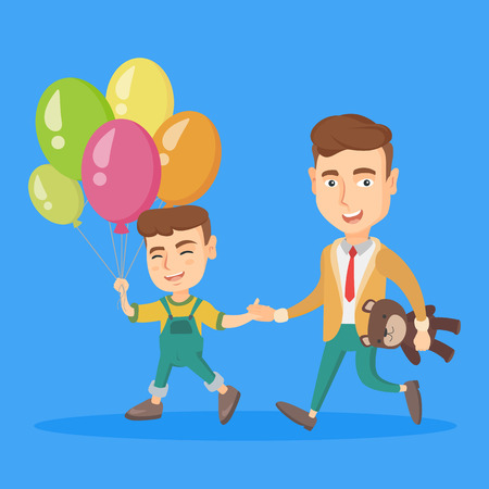 kids birthday party: Young caucasian father with his cheerful son go to a birthday party with teddy bear as a gift and colourful balloons. Concept of children birthday party. Vector cartoon illustration. Square layout. Illustration
