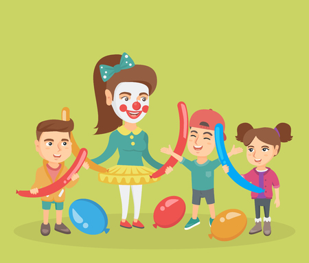 kids birthday party: Three happy caucasian kids and young animator making a figure from long balloons at children party. Group of children and animator playing with balloons. Vector cartoon illustration. Square layout.