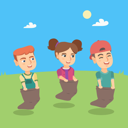 Group of caucasian children jumping in sacks on the field. Little children having fun while jumping in sacks on a meadow. Children competing at sack race. Vector cartoon illustration. Square layout.