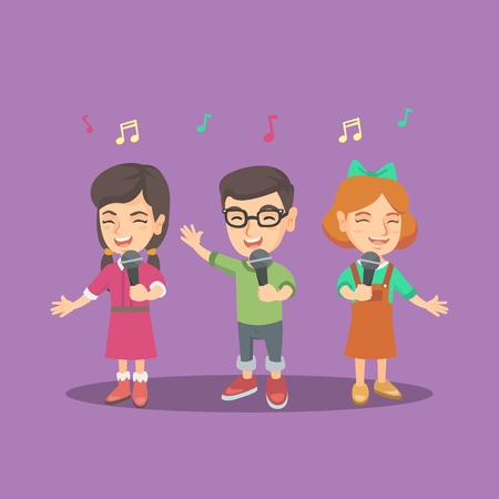 Group of cheerful caucasian girls and boy singing a song with microphones. Children choir standing with microphones and singing. Vector cartoon illustration. Square layout.