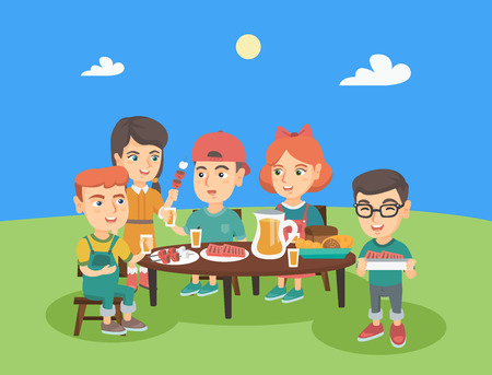 kids birthday party: Group of caucasian joyful children having fun at picnic. Company of happy boys and girls having picnic in the park outdoors. Kids eating at picnic. Vector cartoon illustration. Horizontal layout. Illustration