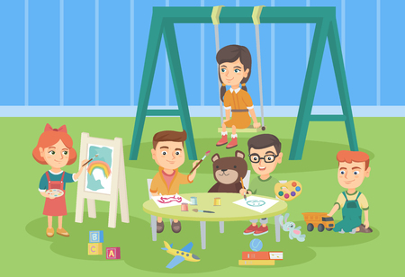 Group of caucasian children playing in the playground outdoor. Children drawing, playing with toys, having fun on a swing in the kindergarten playground. Vector cartoon illustration. Horizontal layout
