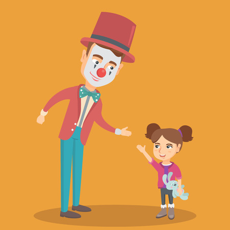 kids birthday party: Little caucasian girl holding a rabbit toy in hand and greeting the clown. Happy girl and clown at children party. Clown playing with girl. Vector cartoon illustration. Square layout.