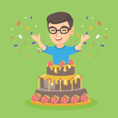 kids birthday party: Little caucasian boy jumping out of a large cake. Smiling boy standing with raised hands in the cake. Cheerful boy celebrating birthday with a huge cake. Vector cartoon illustration. Square layout.
