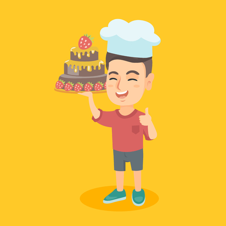 kids birthday party: Little happy caucasian child in chef hat holding a chocolate cake with strawberry. Cheerful boy holding a birthday cake and giving thump up. Vector cartoon illustration. Square layout. Illustration