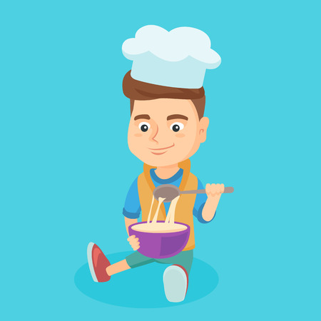 Little caucasian boy in chef hat making the dough in a bowl. Boy stirring the dough with a spoon. Boy sitting on the floor and kneading the dough. Vector cartoon illustration. Square layout.