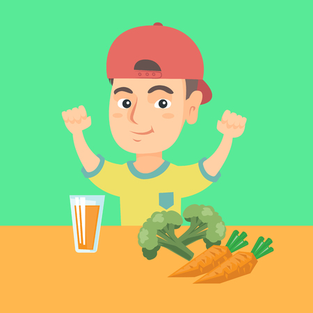 Strong little caucasian boy showing his muscles while sitting at the table with a glass of fresh carrot juice. Concept of healthy nutrition for children. Vector cartoon illustration. Square layout.