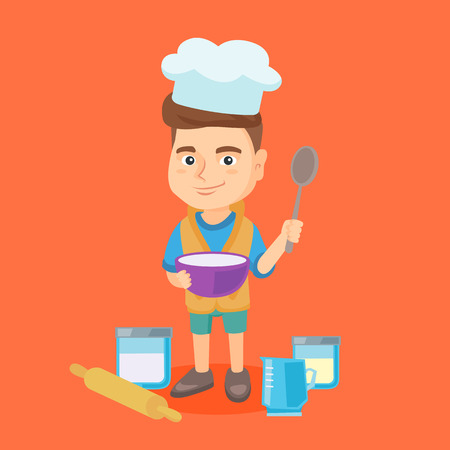 Little caucasian boy wearing chef hat and holding a saucepan and a kitchen spoon. Boy with a saucepan and a spoon standing near rolling pin and kitchenware. Vector cartoon illustration. Square layout.