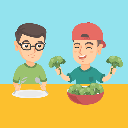 Happy caucasian boy sitting at the table and eating broccoli with pleasure while his sad brother does not want to eat broccoli. Healthy nutrition for kids. Vector cartoon illustration. Square layout.