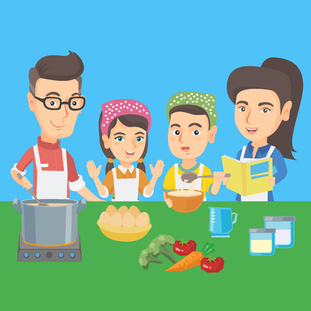 Caucasian children and their parents cooking together in the kitchen. Boy and girl helping their mother and father with cooking. Kids cooking with parents. Vector cartoon illustration. Square layout. Illustration