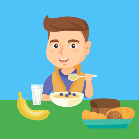 Happy caucasian boy sitting at the table with bowl of porridge, bread, banana and glass of milk. Little boy eating porridge with blueberries for breakfast. Vector cartoon illustration. Square layout.