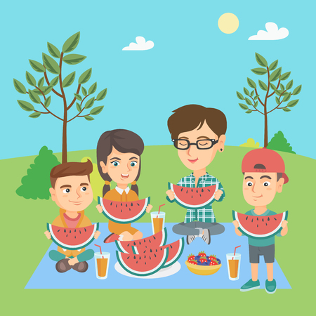 happy family: Young caucasian joyful mother with kids eating watermelon at the park during summer picnic. Happy children and their mother enjoying a watermelon outdoors. Vector cartoon illustration. Square layout.
