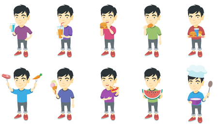 man drinking water: Little asian boy set. Boy drinking water, orange juice, eating hamburger, chicken drumstick, pizza, cheeseburger, french fries. Set of vector sketch cartoon illustrations isolated on white background.