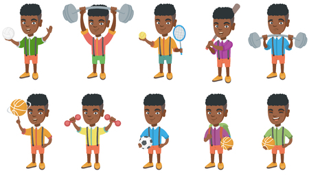 Little african-american boy set. Boy holding volleyball and basketball ball, tennis racket, baseball bat, lifting a heavy barbell. Set of vector cartoon illustrations isolated on white background. Illustration