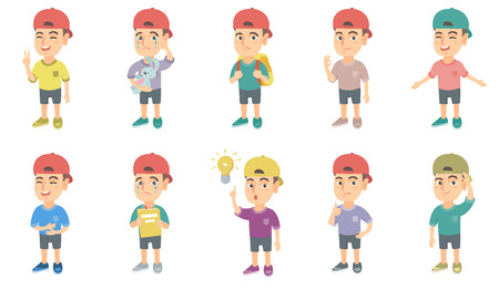 Little caucasian boy set. Boy showing victory gesture, ok sign, crying, pointing finger at lightbulb, giving thumb up, crying. Set of vector sketch cartoon illustrations isolated on white background.