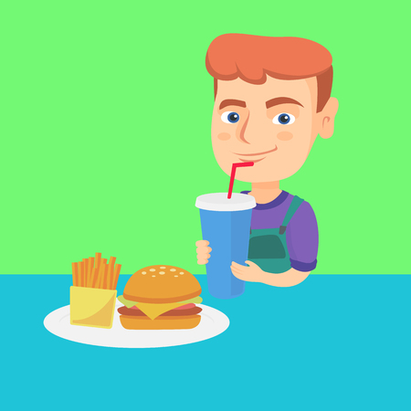 Little caucasian laughing boy drinking soda and eating cheeseburger and french fries. Smiling boy standing near the table with fast food. Vector cartoon illustration. Square layout.