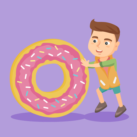 Little caucasian boy rolling a huge sweet doughnut. Full length of a happy boy with a big glazed doughnut. Vector cartoon illustration. Square layout. Illustration