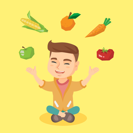 child sitting: Caucasian boy juggling vegetables and fruit over his head. Boy sitting on the floor with vegetables and fruit over his head. Healthy nutrition concept. Vector cartoon illustration. Square layout. Illustration