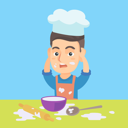 Little caucasian boy in apron and chef hat making big mess during cooking. Boy standing at the table and clutching head while looking at mess after cooking. Vector cartoon illustration. Square layout. Ilustração