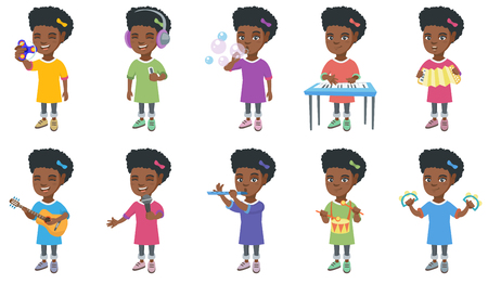 Little african-american girl set. Girl holding fidget spinner toy, listening to music, singing into a microphone, blowing soap bubbles. Set of vector cartoon illustrations isolated on white background