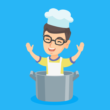 child sitting: Little caucasian boy in a chef hat sitting in a large saucepan. Cheerful smiling boy with raised hands and closed eyes sitting in a big saucepan. Vector cartoon illustration. Square layout.