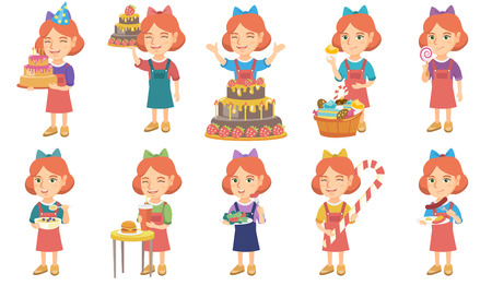 Little caucasian girl set. Girl drinking soda, eating cheeseburger, vegetable salad, christmas candy cane, sausage, fried egg. Set of vector sketch cartoon illustrations isolated on white background.