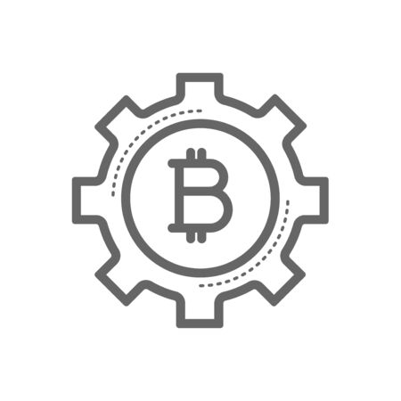 electronic background: Bitcoin in a gear line icon. Cryptocurrency bitcoin mining concept. Linear vector icon isolated on white transparent background.