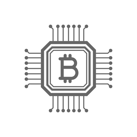 electronic background: Bitcoin blockchain line icon. Cryptocurrency bitcoin blockchain concept. Linear vector icon isolated on white transparent background. Illustration