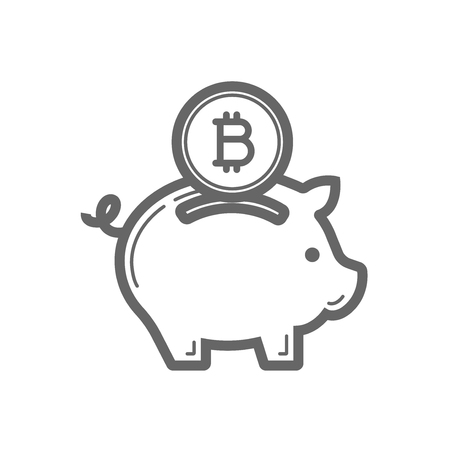 Bitcoin piggy bank savings line icon. Cryptocurrency bitcoin money saving concept. Linear vector icon isolated on white transparent background.