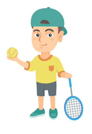 Little caucasian tennis player holding a tennis racket and a ball. Smiling boy while a tennis racket and a ball. Boy playing tennis. Vector sketch cartoon illustration isolated on white background. Banco de Imagens - 87430842