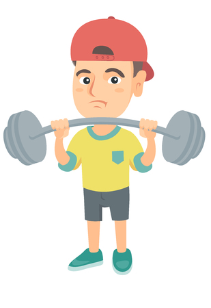 Upset caucasian child lifting a heavy weight barbell. Little sad boy in sportswear training with barbell. Boy trying to lift a barbell. Vector sketch cartoon illustration isolated on white background.