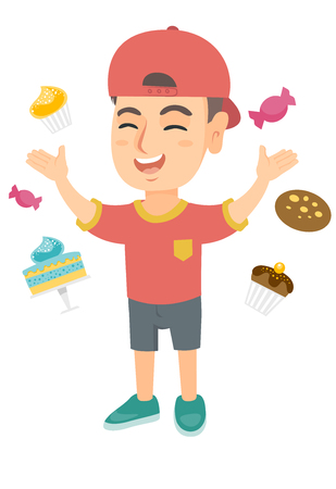 Happy little caucasian boy standing among lots of sweets. Full length of cheerful boy surrounded by cake, candies, cupcakes, cookie. Vector sketch cartoon illustration isolated on white background.