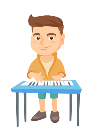 Little caucasian boy playing the piano. Full length of smiling boy standing near the piano. Vector sketch cartoon illustration isolated on white background.