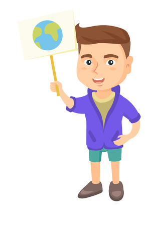 Caucasian boy holding a placard with planet. Full length of eco-friendly little boy with a placard with earth at the rally. Vector sketch cartoon illustration isolated on white background.