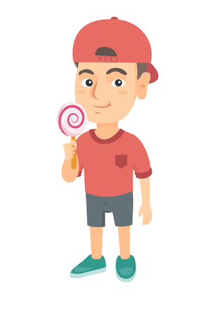 Little caucasian boy holding a lollipop candy. Full length of young boy eating a lollipop candy. Vector sketch cartoon illustration isolated on white background.