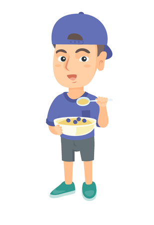 Happy caucasian boy holding a spoon and bowl of porridge with blueberries. Little boy eating porridge for breakfast. Vector sketch cartoon illustration isolated on white background. 向量圖像