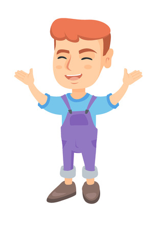 Cheerful caucasian boy standing with hands raised in the air. Full length of happy boy raising his hands and celebrating success. Vector sketch cartoon illustration isolated on white background.