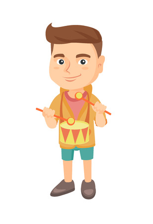 Cheerful caucasian boy playing the drum. Full length of joyful boy playing the drum with drumsticks. Vector sketch cartoon illustration isolated on white background.