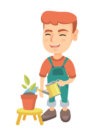 Caucasian boy watering plant with a watering can. Little laughing boy watering a flower growing in a pot. Vector sketch cartoon illustration isolated on white background.