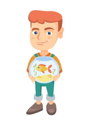 Caucasian boy holding aquarium with goldfish. Full length of smiling little boy holding bowl with pet fish. Vector sketch cartoon illustration isolated on white background.