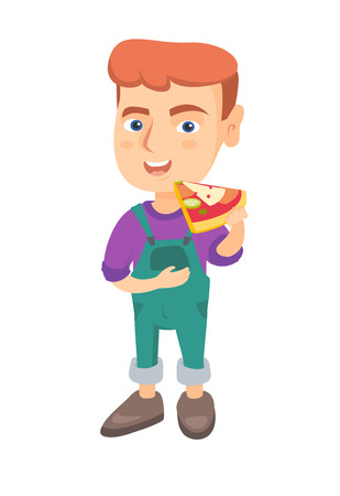Cheerful caucasian boy eating tasty pizza. Full length of little boy holding a piece of pizza in hand and stroking his belly. Vector sketch cartoon illustration isolated on white background