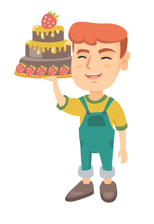 kids birthday party: Little caucasian boy holding a strawberry cake. Full length of cheerful smiling boy standing with a chocolate cake in hands. Vector sketch cartoon illustration isolated on white background.