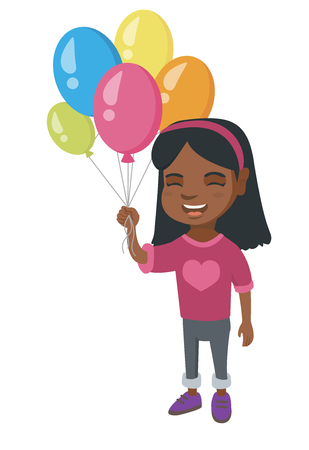 kids birthday party: African-american smiling happy girl with the bunch of colorful air balloons in her hand. Cheerful girl holding the bunch of balloons. Vector sketch cartoon illustration isolated on white background.