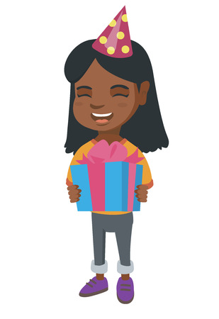 kids birthday party: African-american happy smiling girl in birthday cap holding gift box. Full length of cheerful little girl with gift box. Vector sketch cartoon illustration isolated on white background.