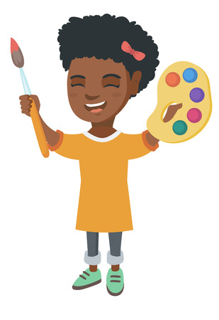 Smiling african-american girl drawing with colorful paints and brush. Creative girl holding paintbrush and palette with watercolors. Vector sketch cartoon illustration isolated on white background.