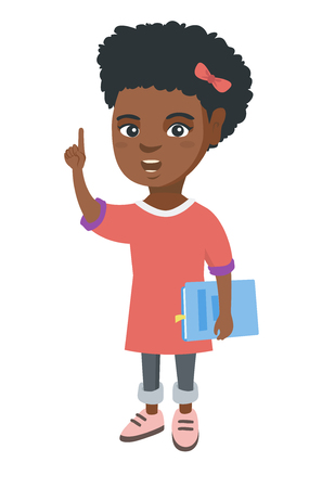 African-american schoolgirl holding textbook and pointing her forefinger up. Smiling schoolgirl pointing forefinger up. Vector sketch cartoon illustration isolated on white background.